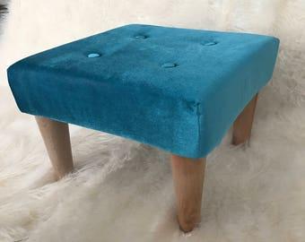 Aqua Velvet Ottoman, Scandinavian Style Foot Stool , Ottoman , Foot Rest