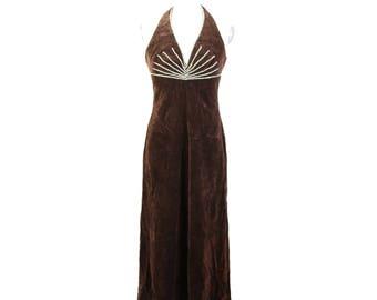 Kleider Zum Verlieben brown velvet wedding maxi dress glitter size 38 1980s
