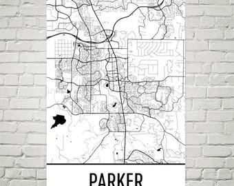 Parker CO Map, Parker Art, Parker Print, Parker Colorado Poster, Parker Wall Art, Parker Gifts, Map of Colorado, Colorado Poster, Decor