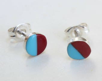 Sterling Silver Studs Turquoise Coral Earrings Zuni Indian Native American Small Tiny Inlay Inlaid
