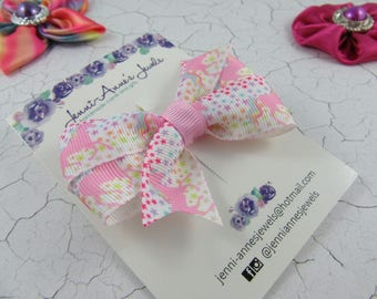Pinwheel Hair Bow Clip - Unicorn