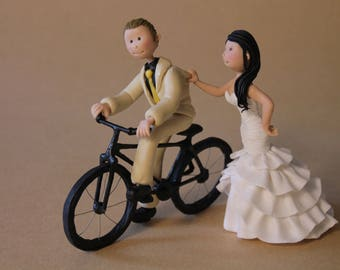 Customised Bride & Groom on Bicycle Cake Topper. Wedding keepsake. The bride and groom.  Cake topper.Cake decoration. Party Supplies.