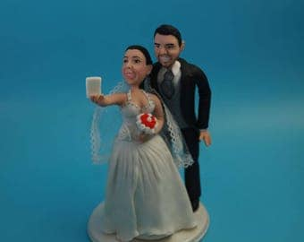 Lovely couple Selfie with pet wedding cake topper . Wedding keepsake. The bride and groom.  Cake topper.Cake decoration. Party Supplies.