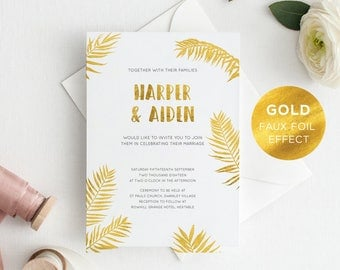 Printable Wedding Invite/ RSVP/ Save the date/ Thank you card/ PDF/ Download/ Custom/ Tropical/ Foil effect/ Exotic/ Harper suite #059-WHITE