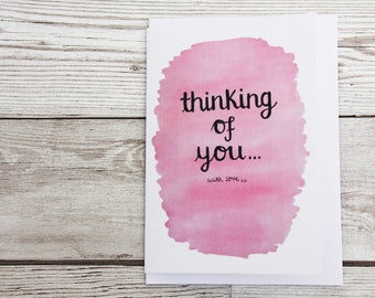 Pink sympathy card, thinking of you card, pink loss card, pink bereavement card, pink tough time card, sending love card, condolences card