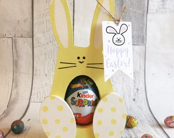 SALE, Easter Bunny, Wooden Easter Bunny, Personalised Easter Gift, Chocolate Egg Holder, Easter Keepsake