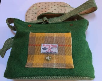 Harris Tweed cross body or shoulder bag with matching clip-in purse
