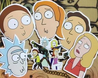 Rick and Morty sticker pack, 6 stickers, Cartoon, Stickers, Slaps, Rick and Morty