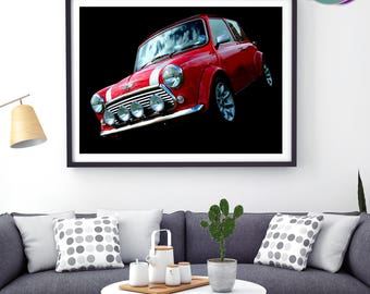 Red Mini Cooper Sport Pack - Red Mini Photographic Design - Art Print- Mini Cooper Sport Pack - Classic Mini Car - Austin Mini Cooper