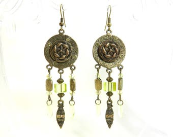 "Earrings ""Beyza"" hook bronze metal frame, made by hand."