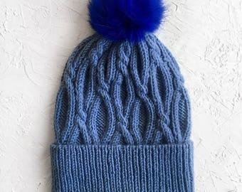 Woman Knit Hat with Fur Pom, Wool Hat, Women Knit Hat, Blue Winter Hat, Fur PomPom Beanie Hat for Women, Cuffed Hat, Hand Knit Hat, Blue Hat