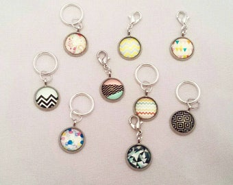 Geometric Stitch Markers// Glass Progress Keepers// Knitting Markers