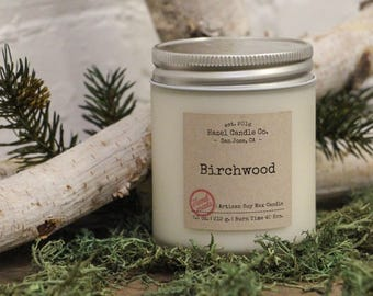 Birchwood Scented SOY WAX CANDLE Artisan Handmade Candles - Soy Candles - Custom Candles - Aromatherapy Candles with essential oils