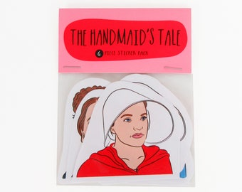 THE HANDMAID'S TALE, 6 piece sticker set, The Handmaid's tale stickers, Margaret Atwood, lady writer, Offred bonnet, under his eye, resist