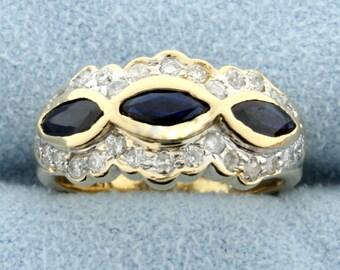 Natural Sapphire & Diamond 14k Yellow Gold Ring