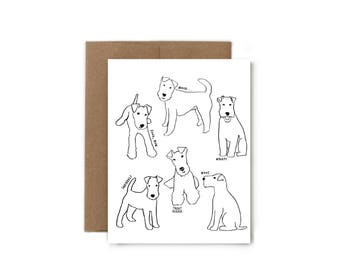 Dog Outline Greeting Card - A2