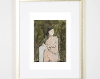 Green Lady Art Print /  / Figure Painting / Print of Original Watercolor / Naked Lady Art / Nude Drawing