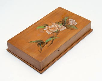 Vintage wooden jewelry box, decorative wooden box, jewelry box, wooden trinket box, storage box, jewellery box, floral decoration