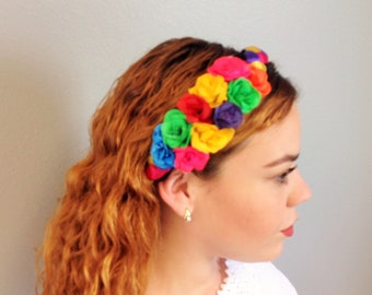 Mexican Floral Headband Medium Size Colorful Flowers Headband Crown Frida Kahlo Headband Mexican Tiara Fabric Flowers