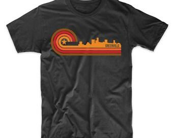 Retro Style Greenville South Carolina Skyline T-Shirt