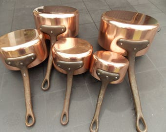 set of 5 french copper pots tined lined copper pans with iron handles - Copper Pots