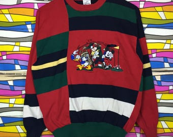 Rare!! Vintage THE DISNEY Sweatshirt Big Logo Multicolour