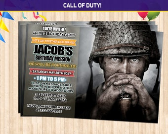 Call of Duty WW2 Birthday Invitations, call of duty birthday, call of duty party