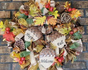 Thanksgiving Wreath, Fall Wreath, Fall Front Door Wreath,   Fall Deco Mesh Wreath, Front Door Wreath Fall, Harvest Wreath, Fall Door Decor