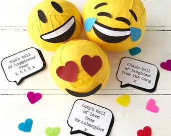 Personalised Emoji Ball Of Happiness, Love And Lolz
