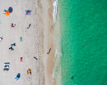 South Beach: 'Let's Play' // Aerial beach Photography // Limited Edition