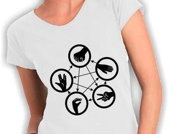T-shirt donna large neck lizard spock sasso