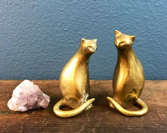 Brass Kitties Vintage Set of 2