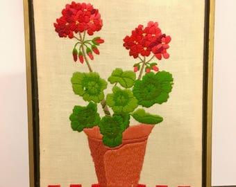 Flowerpot Crewel Large Picture // Vintage Crewel Flower Picture // 1960's-1970's