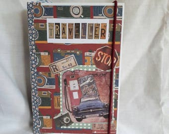 Traveller theme junk journal vintage writing journal travel journal keepsake book diary scrapbook