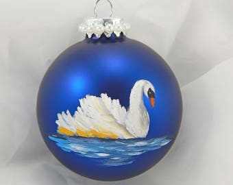 Hand-Painted Ornament. Swan Ornament. Swan. Painted Ornament. Christmas Ornament. Holiday Ornament. Glass Ornament.
