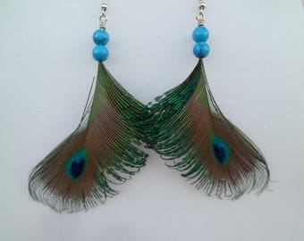 Earrings with real peacock feathers