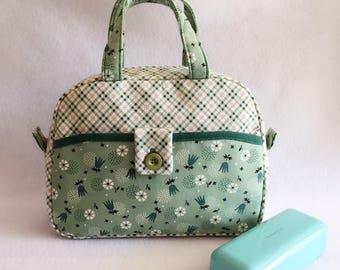 15% off, easter sale! Beautiful Handbag, Green Cotton Bag, Shopping Bag, Little Girl Handbag