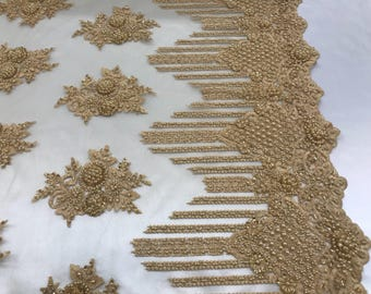 Bridal Beaded - Lace Fabric Gold Embroidered Mesh Dress Flower-Floral Wedding Veil By The Yard