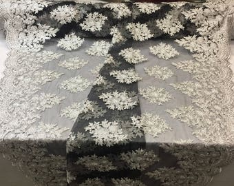 Silver-Black Lace Fabric - Corded Flowers Embroidery With Sequins For Wedding Dress Bridal Veil By The Yard