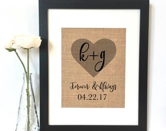 Forever and Always Personalized Names Anniversary Gift Burlap Print