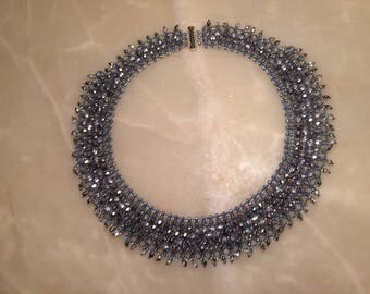 Silvery blue seed bead necklace