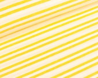 Hamburg love melange Jersey Stripemania two colza white stripes (21.90 EUR / meter)