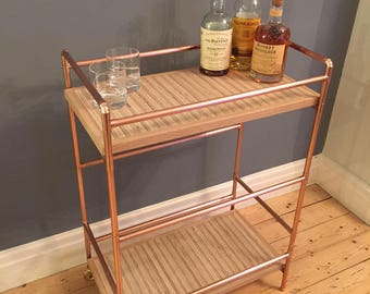 2 tier Drinks trolley in a modern industrial style with a copper pipe frame and birch ply tops