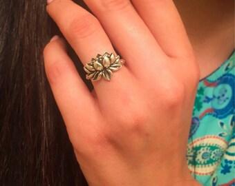 Lotus Ring-Sterling Silver Lotus Ring-Lotus Flower Ring-New Beginnings Ring-Lotus Jewelry-Yoga Ring-Promise Ring-Hope Jewelry-Birthday Ring