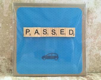 Handmade passed driving test card blue scrabble