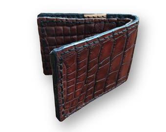 GENUINE ALLIGATOR, The Huntsman's Wallet (Burgandy, No.15)