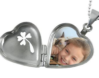 Pendant Locket clover sterling silver - Locket that opens