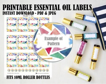 Printable Essential Oil Labels - 10ml Rollerball Labels Geometric Pattern