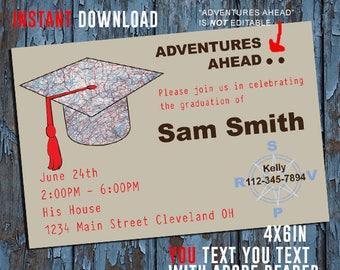 Graduation, Graduation Invitation, Graduation party invite, Graduation announcement, adventure ahead,  instant download self editable PDF