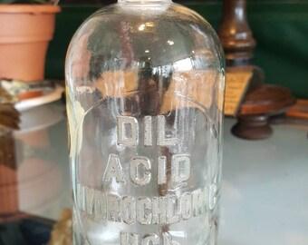 Vintage Dil acid hydrochloric glass stopper laboratory bottle